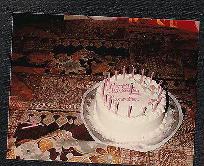 Vintage Photograph Beautiful Birthday Cake With Candles Setting On Table