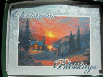 Nib~Leanin' Tree Christmas Cards~Church In Country~12 Embossed Cards & - LEANIN TREE CHRISTMAS Cards Boxed 12 Embossed W/ Envelopes Tractors
