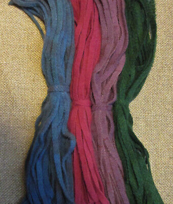 Four Jewel Tones 100 Hand Dyed  #8 Rug Hooking Wool Strips