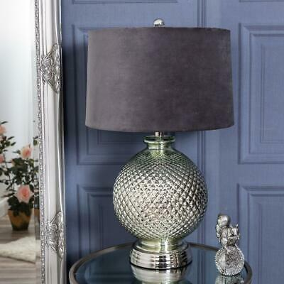 Large Silver Contemporary Table Lamp Metal Glass Modern Hallway Living Bedroom