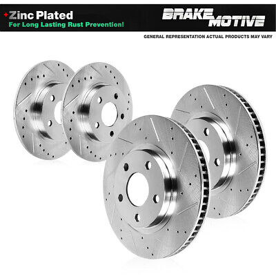 For 2002-2003 Toyota Camry Front Rear eLine Drill Slot Brake Rotors+Ceramic Pads