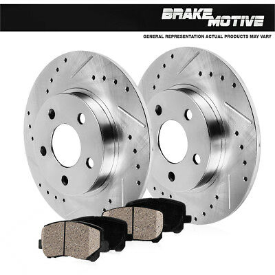Rear Drilled /& Slotted Brake Rotors /& Ceramic Pads For 1996-1997 Audi A4