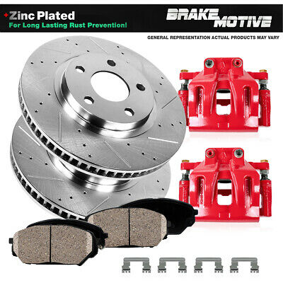 Front Red Brake Calipers And Rotors + Pads For 2013 2014 2015 2016 Ford Fusion
