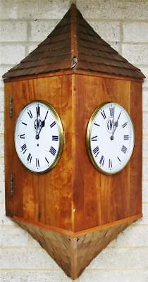 Rare Huge Antique English GWR 8 Day Single Fusee Twin Dial Station Wall Clock