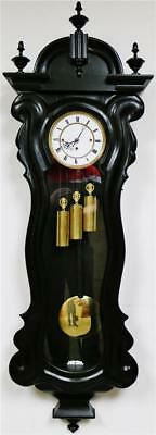 Antique 8 Day Triple Weight Ebonised Grand Sonnerie Vienna Regulator Wall Clock