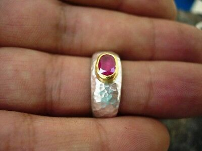 24k pure gold & Ancient Hand Made Hammered Silver Ring & Ruby