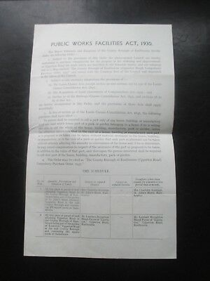 1937 Eastbourne Sussex Upperton Road Compulsory Purchase Order Document