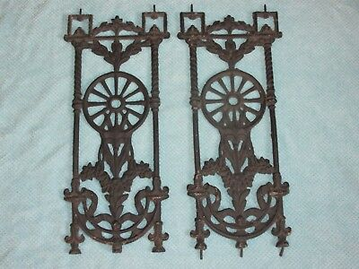 Pair Architectural Salvage Antique Ornate Cast Iron Stair Porch Balusters