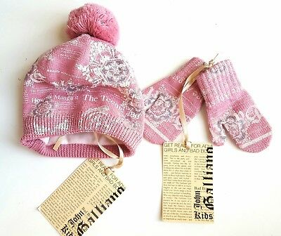 John Galliano Girls PINK Wool Knitted Printed Beanie Hat Gloves Set 6-12M £60