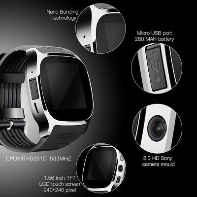 T8 Bluetooth Smart Watch SIM Card Fitness Tracker Wrist Watch For Android