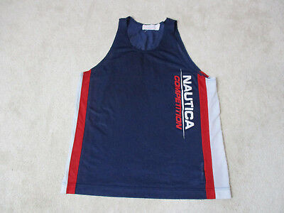 f4fc87edfbc52 VINTAGE Nautica Competition Tank Top Shirt Adult Small Blue Red Spell Out  90s