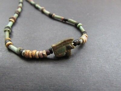 NILE  Ancient Egyptian Eye of Horus Amulet Mummy Bead Necklace ca 600 BC