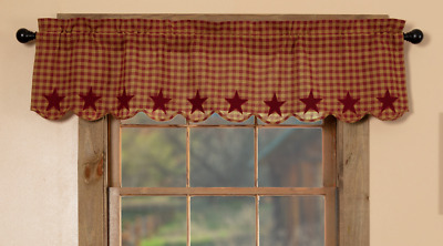 BURGUNDY STAR Scalloped Window Valance Rustic Country Primitive Khaki Check 60""