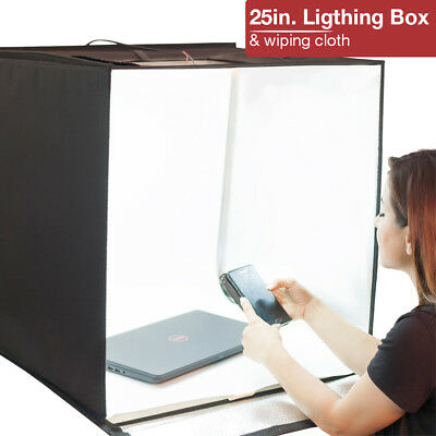 "Portable Photography Photo Studio 25"" LED Shooting Cube Tent Box 4 Backgrounds"
