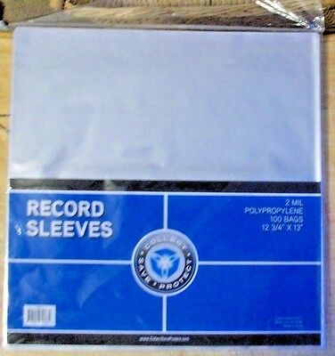 Pk 100 Csp 2 Mil Clear Poly Plastic Outer Sleeves~33 Rpm Vinyl Lp Record Sleeves