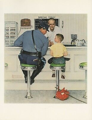 "1977 VINTAGE ""THE RUNAWAY"" NORMAN ROCKWELL FAMOUS MINI POSTER COLOR Lithograph"