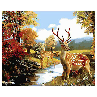 """AUTUMN FOREST DEER PAINT BY NUMBERS CANVAS PAINTING KIT 20"""" x 16"""" FRAMELESS"""