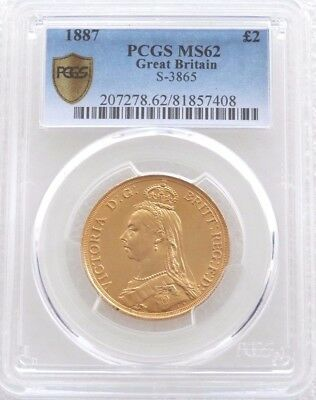 1887 British Victoria Jubilee Head £2 Pound Double Sovereign Gold Coin PCGS MS62