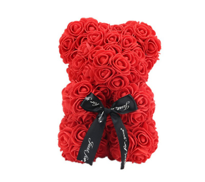 "Red Rose Flower Teddy Bear 10"" Heart Foam Toys Valentine's Day Wedding Gift"
