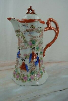 Kutani-Style Moriage Geisha Chocolate /Tea Pot Hand Painted Japanese Porcelain