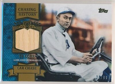 TY COBB 2013 Topps Chasing History Relics Gold #TC BAT RELIC /99 TIGERS HOF