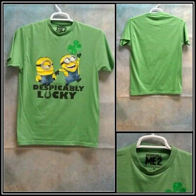 Minions Green with Yellow Blue Graphics Cotton/Poly T Shirt Sz (M) Medium #15277