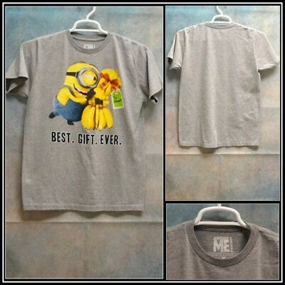 Minions Gray with Yellow Blue Graphics Cotton/Poly T Shirt Sz (M) Medium #15278