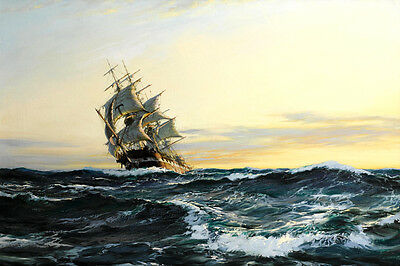 Art Canvas Print Sailboat Sea Sailing Oil painting Giclee Printed on Canvas P751