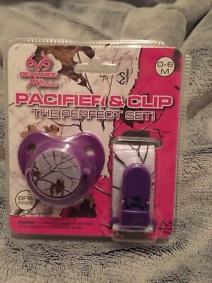 2 PACK REALTREE ORTHODONTIC PINK AND PURPLE CAMOUFLAGED PACIFIER BPA FREE