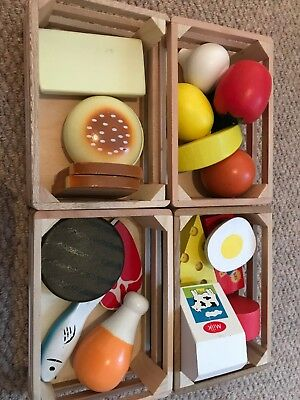 Melissa & Doug Food Groups Set Wooden Educational Toys X4 Baskets Only