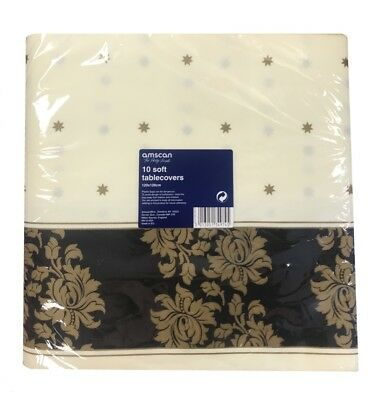 10 Cream & Black Luxury Soft Thick Fabric Large Square Wedding Table Cover Cloth