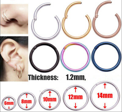Surgical Steel Septum Clicker Hinge Segment Nose Ear Helix Tragus Ring Hoop UK