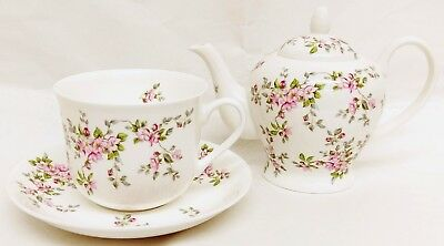 Pink Wild Roses Tea Set for One Bone China Roses Teapot and Large Cup & Saucer