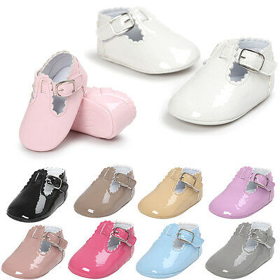 Toddler Newborn Baby Boy Girl Leather Crib Shoes Soft Sole Prewalker Trainers WZ