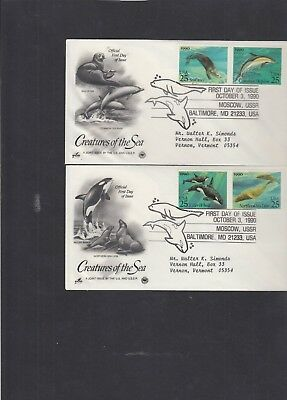 USA 1990 Sea Creatures Whale Dolphin Otter Sea Lion First Day Cover pictorial hs
