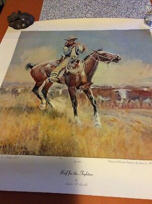 """RARE Charles M Russell 1970""""Beef For The Fighters""""Print Aaron Ashley #359 20x21"""