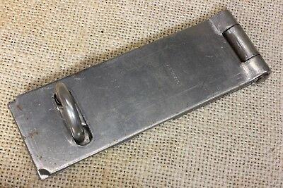 "Tool box hasp hinged steel 4 1/2 x 1 1/2"" Safety lock vintage old stock Stanley"