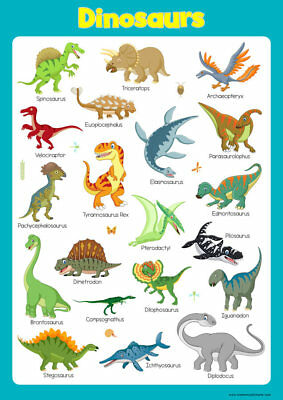 Learn Dinosaurs Poster Educational Toddlers Kids Childs Poster Art Print Chart