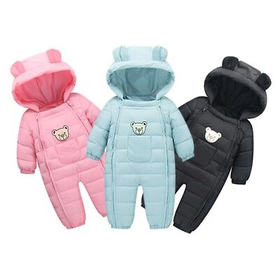 Cute Newborn Baby Boy Girl Kids Romper Cartoon Hooded Jumpsuit Thick Clothes Set