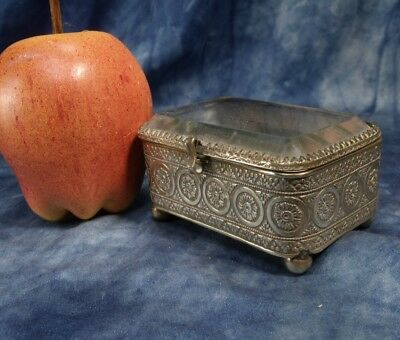 Antique brass trinket  jewellery box C 1890 bevelled glass top .