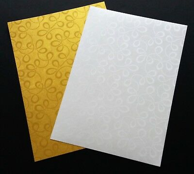 A4 Tapestry Broderie Embossed Card Gold or White Swirl