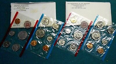 """1971-P/d And 1972-P/d Us Mint Sets 11 Coins In Each Set With The """"s"""" Cent"""