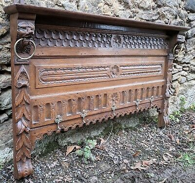 Antique Flemish Solid Oak Gothic Wall Hung Coat Rail / Hooks, Hand Carved Lions