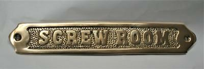 Reproduced - Solid Brass - Screw Room Sign - 8 inches long - Nautical Look