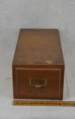 file box 1 drawer tiger oak  wood library index card vintage original