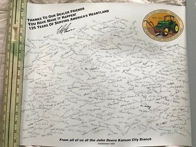 """JOHN DEERE PRINT 1994 """"Signed by Kansas City Branch Workers"""" 125 Years"""