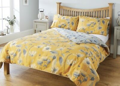 Floral Mustard Duvet Cover and Pillow case Set Quilt Cover Single Double King