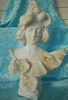 Huge Antique Victorian Marble / Alabaster Carved Female Life-Size Bust 1900's