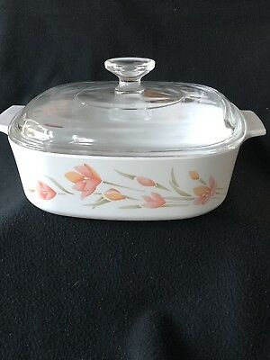 Corning Ware Peach Floral 2 Liter Casserole Dish - with Lid