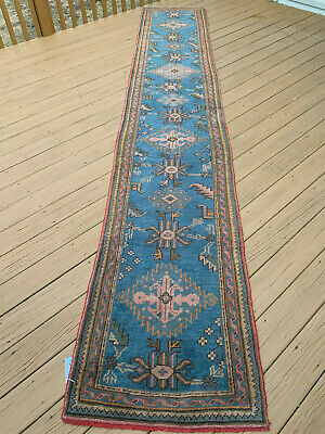 "Antique  Beautiful Hand Made Oushak Turkish long Runner Rug 2'6""x13'3"""